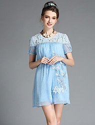 AOFULI Fashion Women Elegant Vintage Bead Embroidery Lace Hollow Patchwork Silk Short Sleeve Sweet Temperament Dress