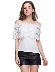 Women's Off The Shoulder Patchwork Lace All Match Sexy Cut Out T-shirt,Boat Neck Short Sleeve