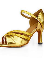 Women's Dance Shoes Satin Satin Latin Sandals Flared Heel Practice Beginner Professional Indoor Outdoor Performance Gold Customizable