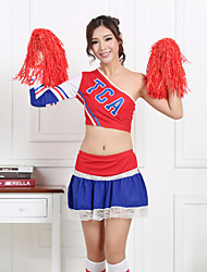 Cheerleader Costumes Women's Performance Polyester One-shoulder Outfits Red / Blue