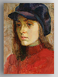 Oil Painting Impression Poeple a Girl Wearing Hat Hand Painted Canvas with Stretched Framed