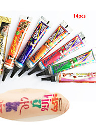 Color GOLECHA HENNA Paste Tattoo Kit body Art Temporary Ink Jagua Black Hina Diy Hena(14PCS)