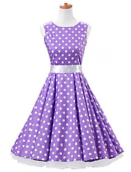 50s Era Vintage Style Sleeveless Rockabilly Dress Cosplay Costume Purple White Polka Dot (with Petticoat)