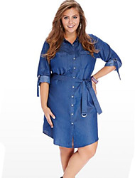Women's Solid Vintage Street chic Classics Large Size Cotton Dress,Plus Size / Casual / Day