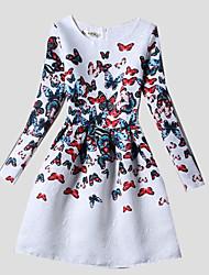 Girl's White Dress,Print Polyester Winter / Fall