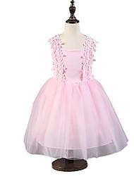 Menina de Vestido,Festa/Coquetel Estampado Algodão Verão / Primavera Rosa