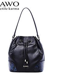 NAWO Women Cowhide Shoulder Bag Black-N153051