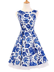 50s Era Vintage Style Sleeveless Rockabilly Dress Audrey Hepburn Cosplay Costume Blue Floral (with Petticoat)