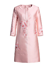 Women's Casual/Daily Simple Coat,Floral Long Sleeve Pink Polyester