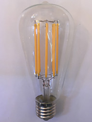 10W E26/E27 Ampoules à Filament LED ST64 8 COB 1000 lm Blanc Chaud Ambre Décorative Etanches AC 85-265 V 1 pièce