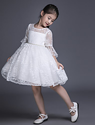 Ball Gown Short / Mini Flower Girl Dress - Lace Half Sleeve Scoop with