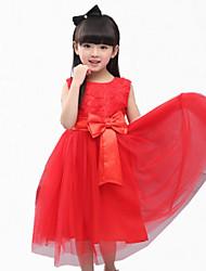 Mädchen Kleid-Party/Cocktail Blumen Polyester Sommer Rot / Weiß