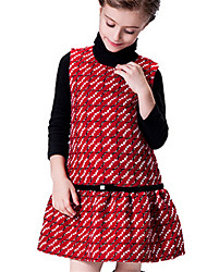 Girl's Red Dress Cotton Winter