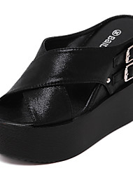 Women's Shoes  Wedge Heel Wedges / Slippers Sandals Casual Black / Silver