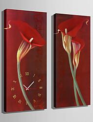 Rechteckig Modern/Zeitgenössisch Wanduhr,Anderen Leinwand 24 x 70cm(9inchx28inch)x2pcs/ 30 x 90cm(12inchx35inch)x2pcs