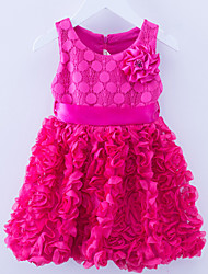 Girl's Pink / Red / Yellow Dress,Cartoon Polyester Summer