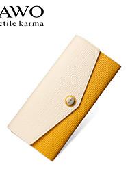 NAWO Women Cowhide Checkbook Wallet Yellow-N354011