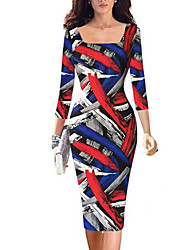 Women's Vintage / Simple / Street chic Geometric A Line / Bodycon Dress,Square Neck Knee-length Polyester / Spandex
