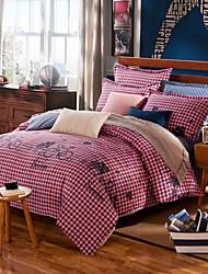 Black and red plaid 100% Cotton Bedclothes 4pcs Bedding Set Queen Size Duvet Cover Set