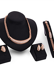 18K Gold Plated Choker Chunky Statement Necklace Jewelry Set For Women Multi Layer Necklace Gold