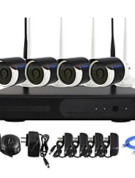 yanse® Stecker und 4-Kanal Wireless-NVR Kit p2p 960p HD IR Nachtsicht Sicherheits-IP-Kamera WIFI CCTV-System spielen