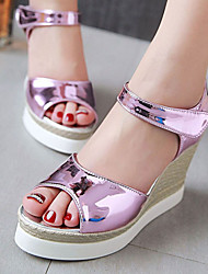 Women's Shoes Patent Leather/Wedges Heels/Sling back/Open Toe Sandals Dress Pink/Silver/Gold