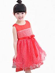 Girl's Pink / Purple / Red Dress,Lace / Dresswear Polyester Summer