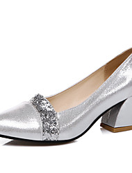 Women's Shoes Chunky Heel Basic Pump / Pointed Toe Heels Wedding / Party & Evening / Dress Black / Silver / Gold