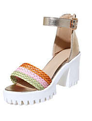 Women's Shoes Leatherette Summer Heels Sandals Casual Chunky Heel Braided Strap Green / Silver / Gold