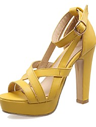 Women's Shoes Chunky Heel Heels / Peep Toe / Platform Sandals Wedding / Party & Evening / Dress Yellow / Pink / White