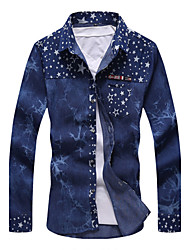 Brand Fashion High Quality Men's Solid Long Sleeve Denim shirts Top,Cotton / Polyester Casual / Sport jeans