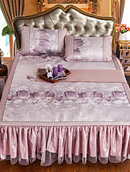 Yuxin®Jacquard + Printing Bed Skirt Hybrid Technology Section of Ice Silk Lace Bed Skirt Three-Piece Seats  Beding Set