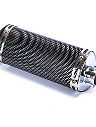 Motorcycle Carbon Fiber Pattern Triangle Shape Exhaust Pipe Silencer Muffler Black 100 x 245mm