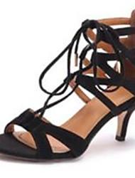 Women's Shoes Fleece Stiletto Heel Heels Sandals Office & Career / Party & Evening / Dress Black / White / Beige