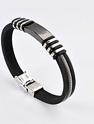 Fashion Men's High Quality 316L Stainless Steel Silicone Bracelets