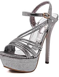 Tacón Stiletto-Zapatos del club-Sandalias-Oficina y Trabajo Fiesta y Noche Vestido-Sintético-Plata Oro