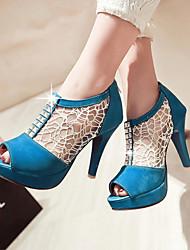 Women's Shoes Heel Heels / Peep Toe / Platform Sandals / Heels Outdoor / Dress / Casual Black / Blue / Almond