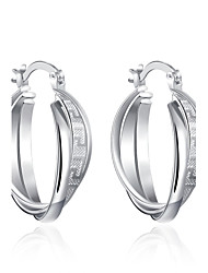 lureme®Fashion Style Silver Plated Twist Shaped Hoop Earrings