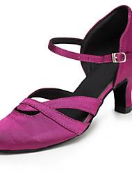 Customizable Women's Dance Shoes Satin Satin Latin / Jazz / Modern / Swing Shoes / Salsa Sandals / Heels Customized HeelPractice /