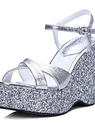 Women's Shoes Leather Wedge Heel Wedges / Platform / Slingback / Open Toe Sandals  / Dress / Casual