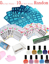 36Pcs /Set   Nail Art Image Printing Beauty Designs Women Tips  (Nail Plates + Nail Sticker Random)