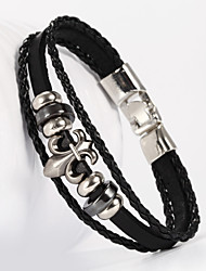 leather Charm BraceletsThree Layer Buckle Lily Flower Fleur De Lis Shape PU Leather Men's Bracelet