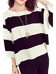 Women's Going out Simple / Street chic Blouse,Striped Round Neck ¾ Sleeve Black Polyester Thin