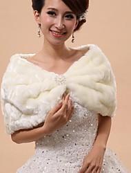 Wedding  Wraps / Fur Wraps / Hoods & Ponchos Capelets Sleeveless Faux Fur White Wedding / Party/Evening Cowl / Off-the-shoulderButton /