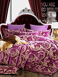 Floral Silk/Cotton Blend 4 Piece Duvet Cover Sets