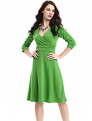 Women's Simple Sheath Dress,Solid V Neck Knee-length ½ Length Sleeve Red / Green Cotton Summer