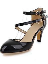 Calçados Femininos-Saltos-Saltos-Salto Agulha-Preto / Bege-Courino-Casual
