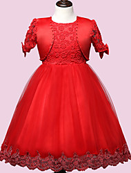 Robe Fille de Polyester Eté Rose / Rouge / Blanc