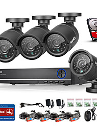SANNCE® 4CH AHD DVR 4PCS 720P IR 4 CH Security DVR Recorder Home Security Surveillance Kits CCTV System