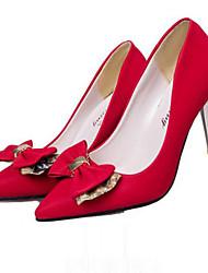 Calçados Femininos-Saltos-Saltos-Salto Agulha-Vermelho / Khaki-Sintético-Social